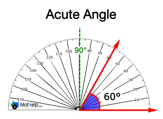 Measurement of an acute angle with the protractor.